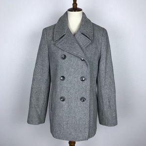 Calvin Klein Gray Double Breast Wool Lined Coat
